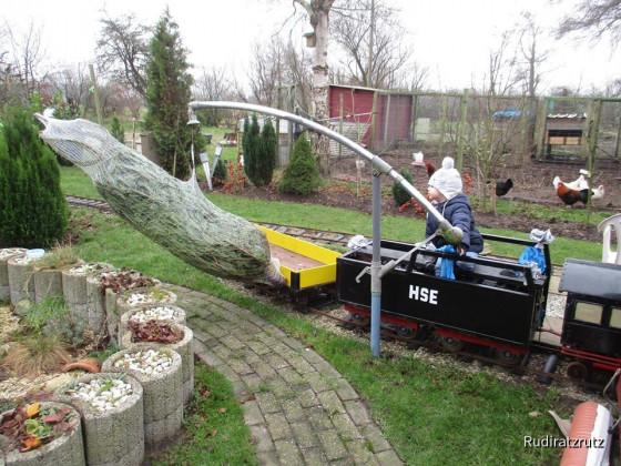 Weihnachtsbaum verladen am Bahnhof